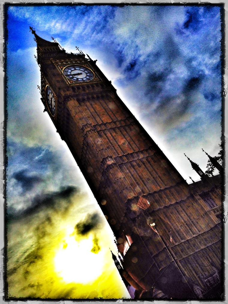 An iPhone shot of Big Ben taken from the back seat of my cab.