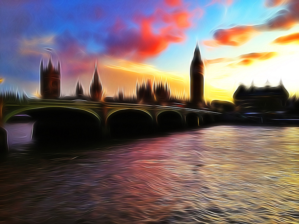 A great sunset over Big Ben, taken with my iPhone then adjusted in Snapseed and TangledFX (click to enlarge)