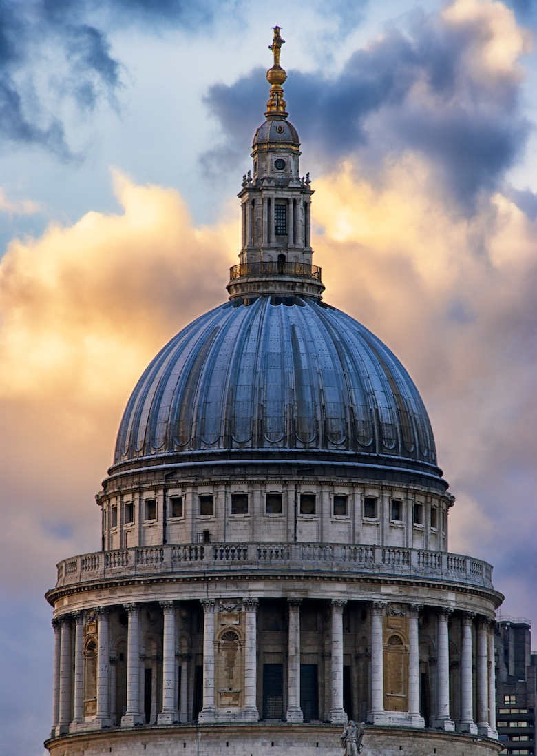 The dome of St. Pauls' Cathedral under a wonderful sunset.