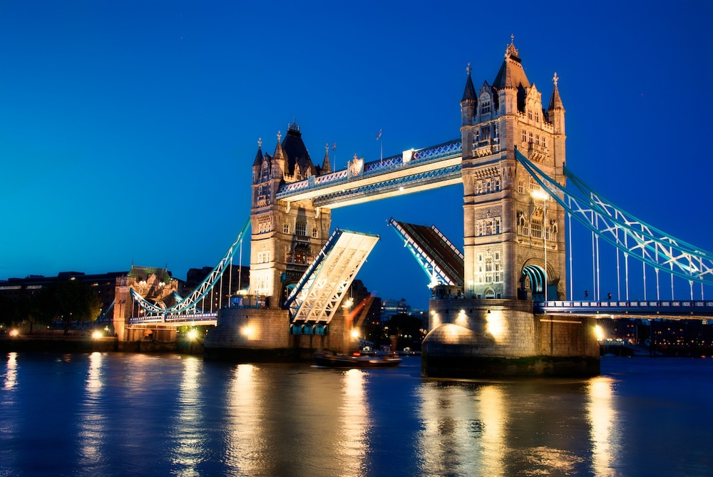 The Tower Bridge, an iconic symbol of London.