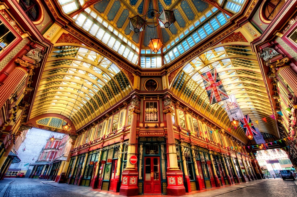 Leadenhall Market in London - perfect for wide-angle HDR work.