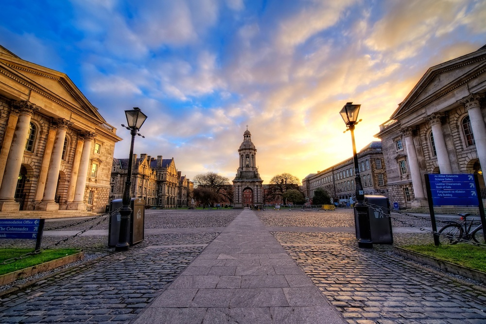 Sunrise at Trinity College in Dublin.