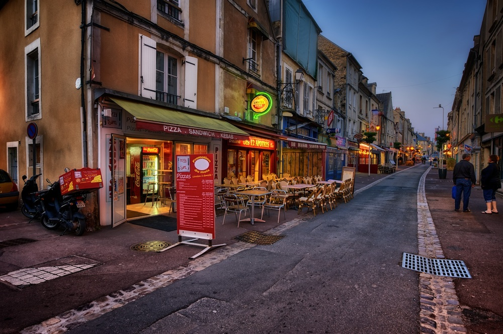 One of the quaint little streets by our hotel in Bayeux.  We ate at one of those places.