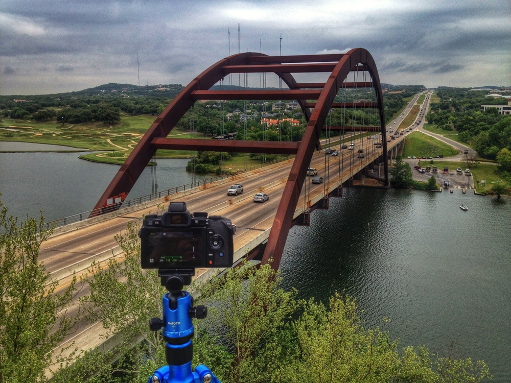 My lovely blue MeFOTO getting a workout in Austin, TX while supporting my Olympus mirrorless camera.