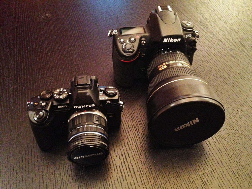 Olympus OM-D EM-1 with 9-18mm lens compared to Nikon D700 with 14-24mm lens.  A bit smaller, huh??