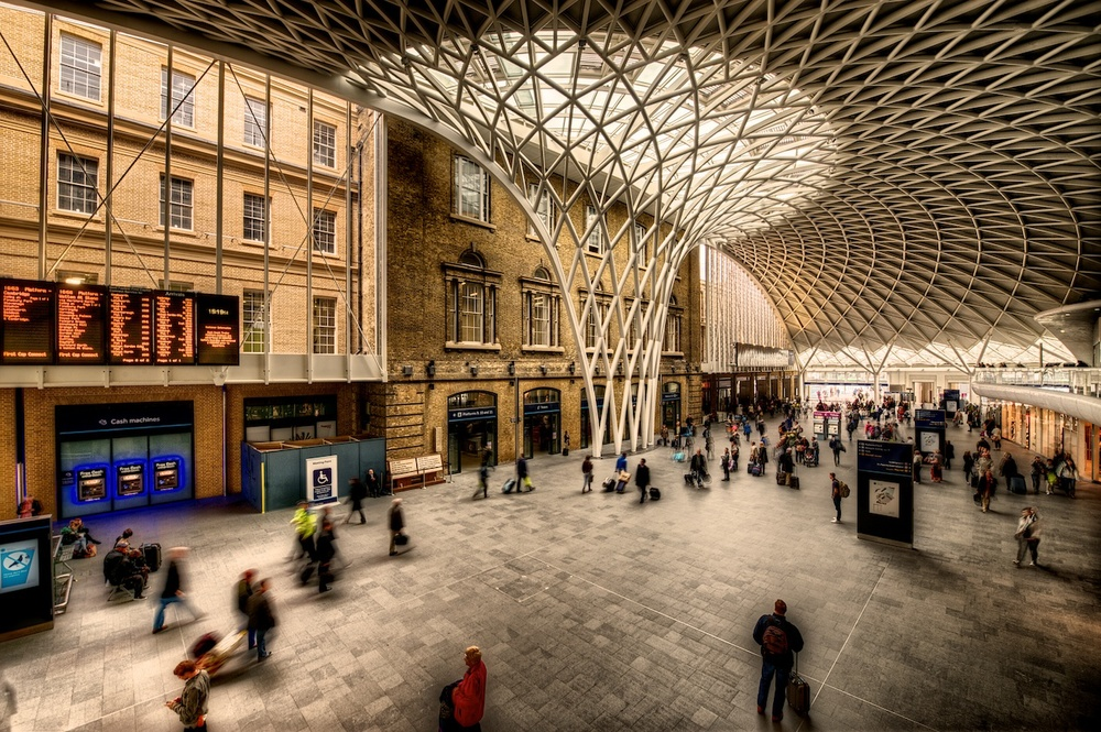 Kings Cross Station in London - this is the train station that Harry Potter uses to get to Hogwarts.  :-)
