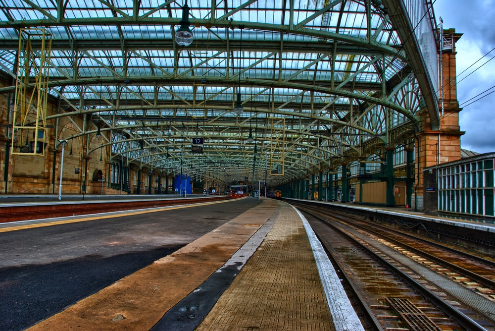 Glasgow Central Station in Scotland - I wandered to the end of the station so I could look back at it (and shoot it).