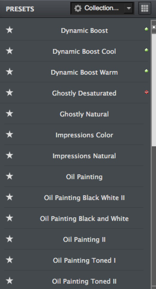 Painting Preset menu