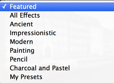 This is the drop-down for all the Effects options.
