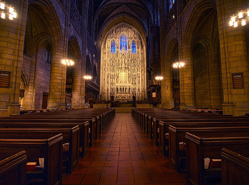 St. Thomas Church in New York City - just a short stroll from the much larger and more famous St. Patrick's.  I went there too, but it was under construction and STILL super crowded.  So I popped over here and nearly had it to myself!