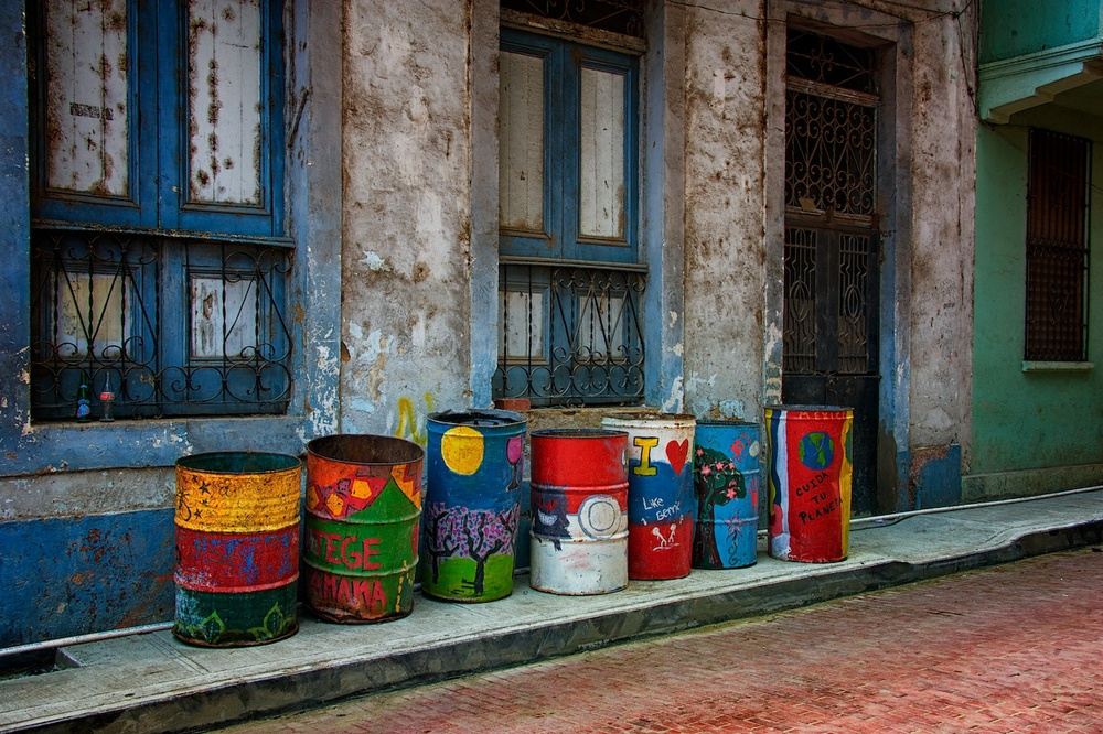 Just some colorful trashcans lining a street in the historic Casco Viejo district in Panama City, Panama.