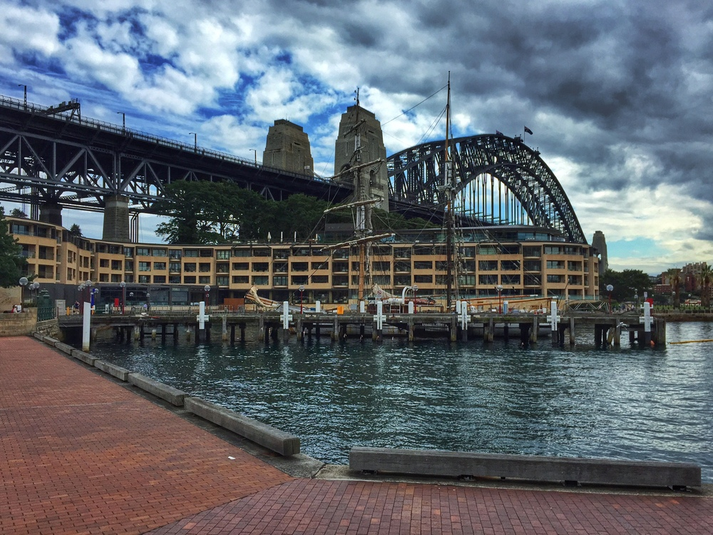 Walking around Circular Quay, headed to the Harbor Bridge.  This is before that crazy sunset happened!