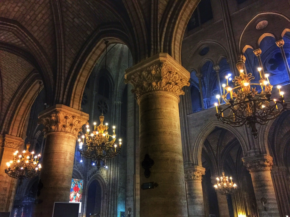 Inside the lovely Notre Dame one evening