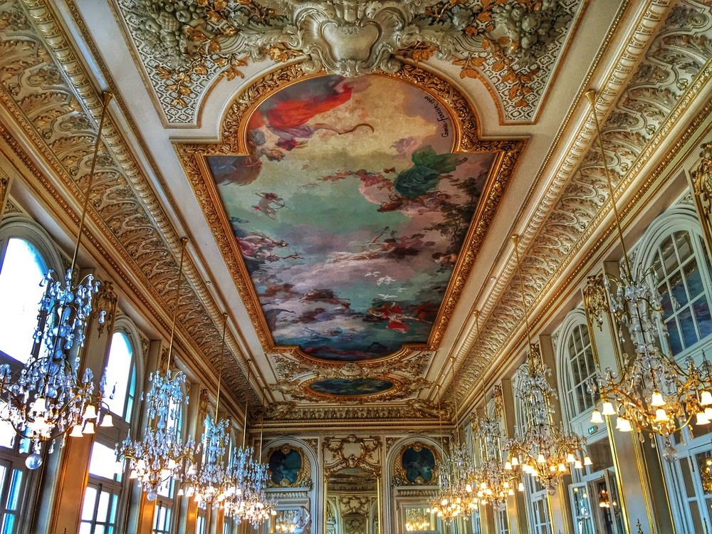 The ceiling of the cafe inside the Musee d'Orsay