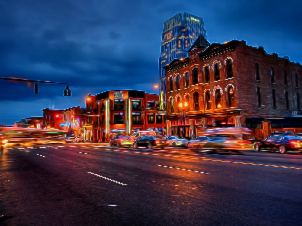 broadway avenue in nashville, TN during blue hour one evening