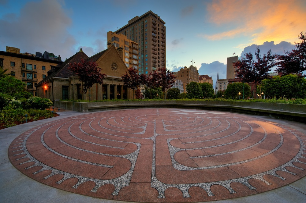 The labyrinth outside the front of the church