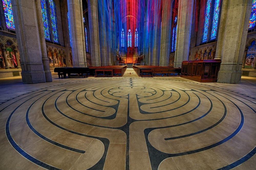 The interior labyrinth, before you get to the main center aisle