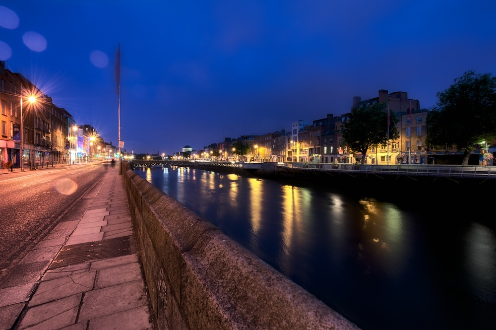 down along the river liffey at some ungodly early hour when most of the town is asleep - peaceful.