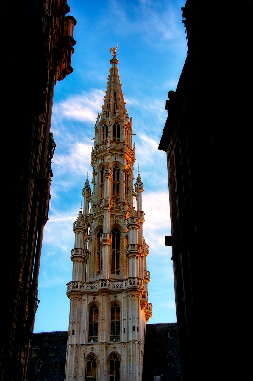 just a different view of the spire at the top of the rathaus.
