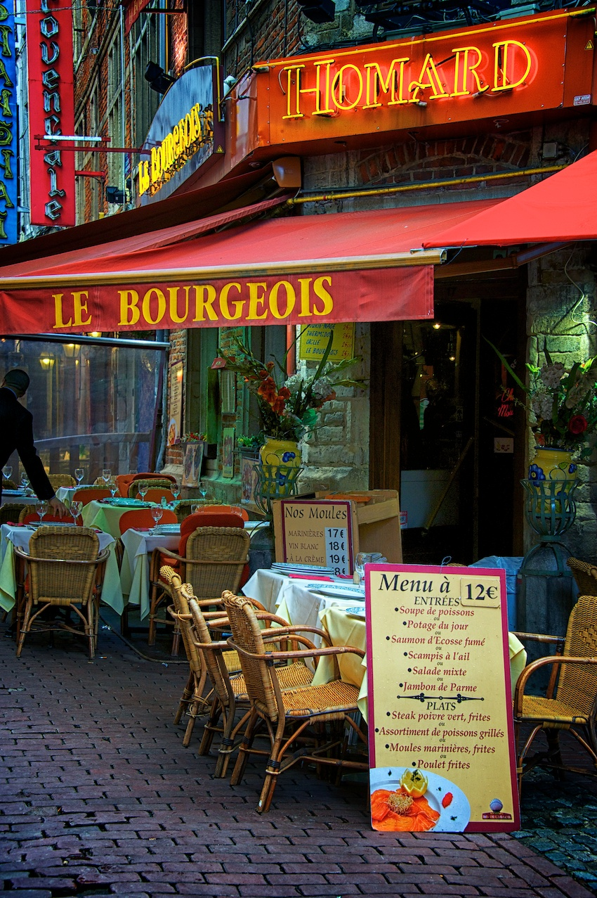 a cafe along the rude du bouchers