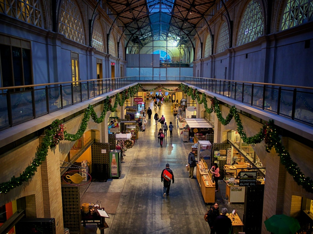 Inside the Ferry Building in San Francisco, shot with this lens at f/1.7