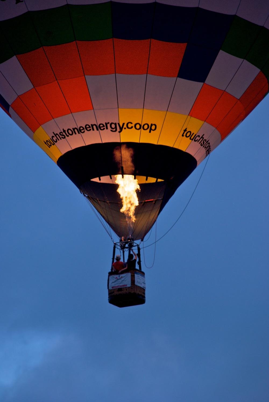 A hot air balloon takes flight in Austin, TX