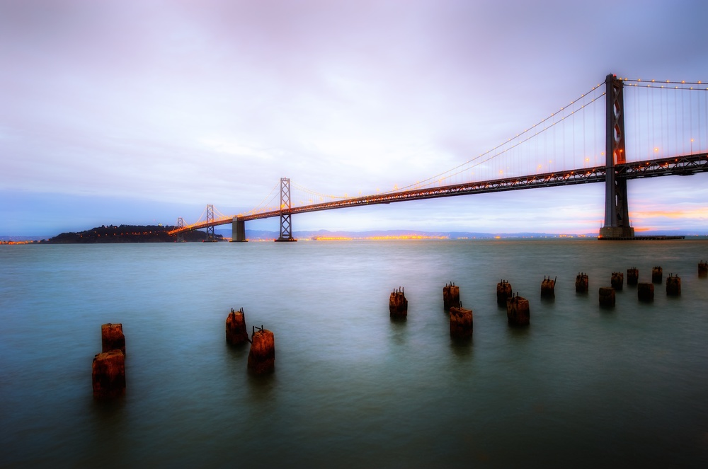 The bay bridge at sunrise
