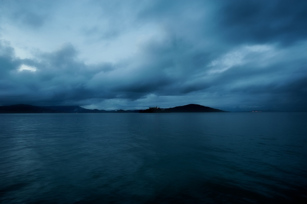 Alcatraz Island during a deep and wonderful blue hour