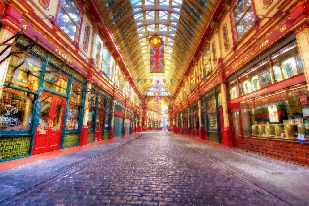 leadenhall market in london - and yes, this place was used for parts of diagon alley in the harry potter movies