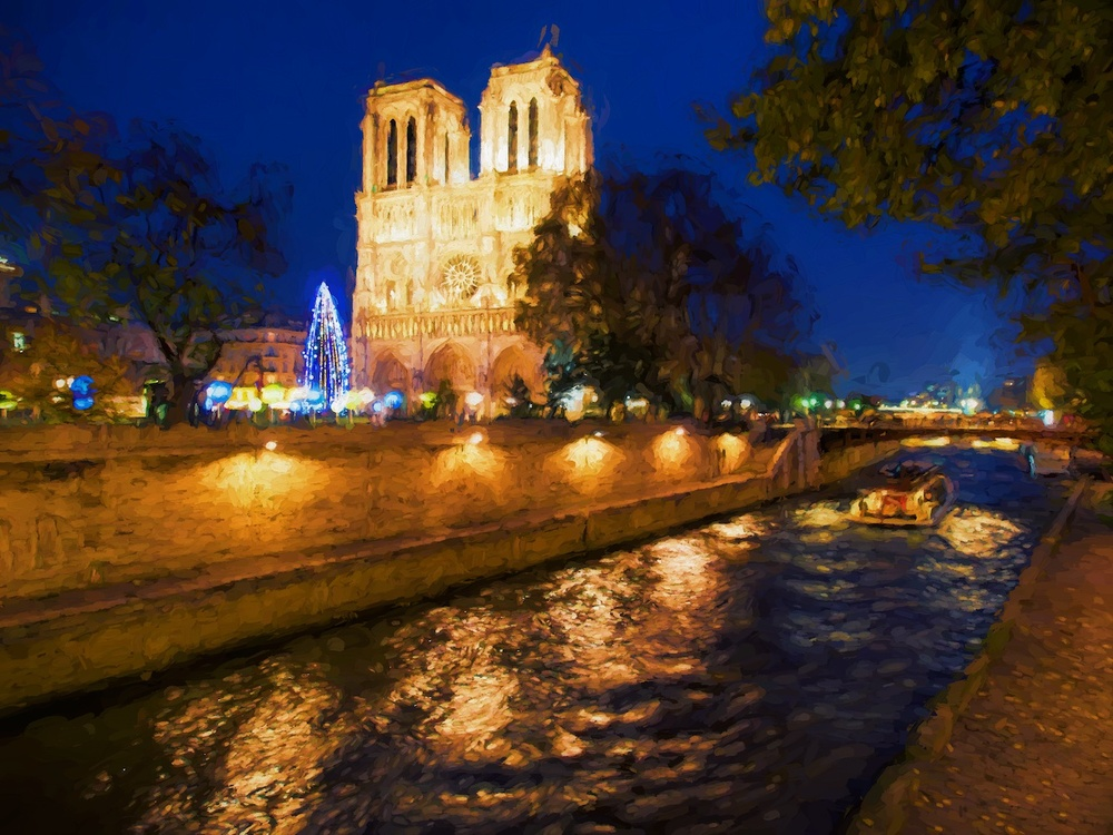 blue hour at notre dame in paris