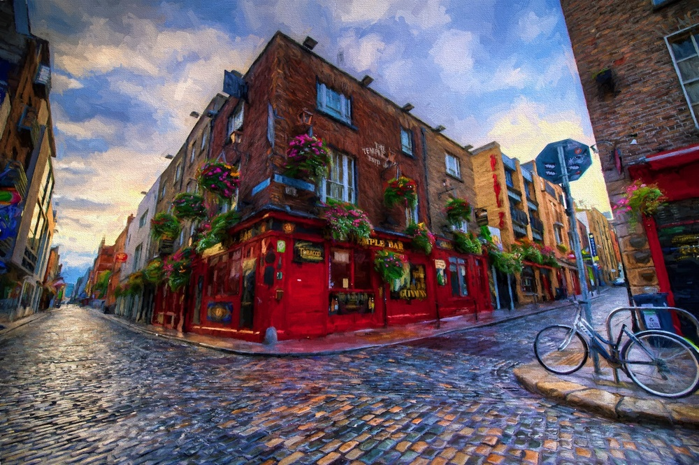 sunrise in the temple bar district in dublin, ireland