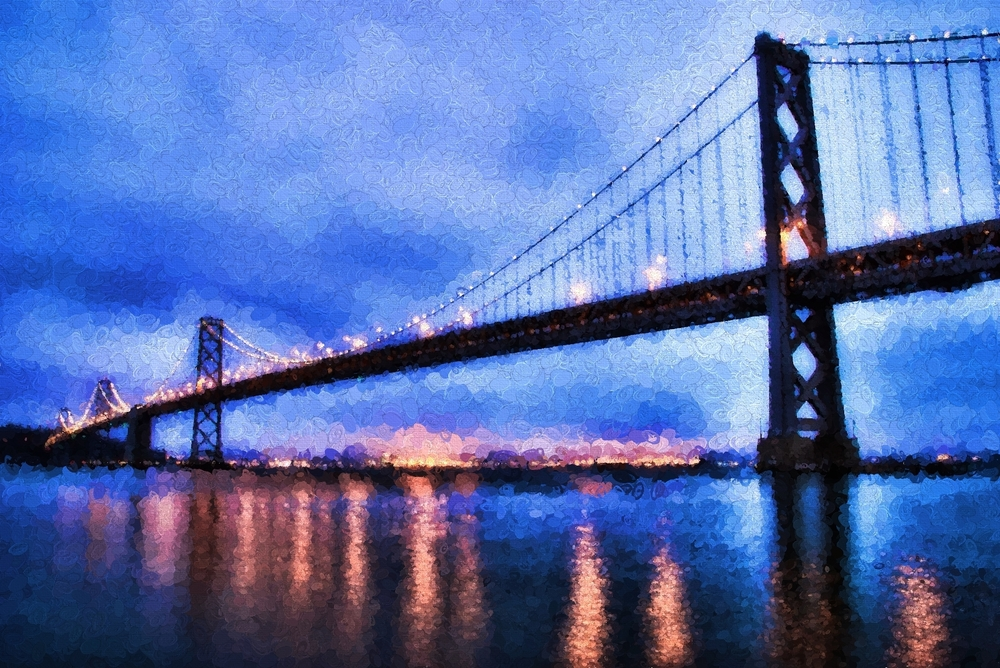 blue hour at the bay bridge in san francisco