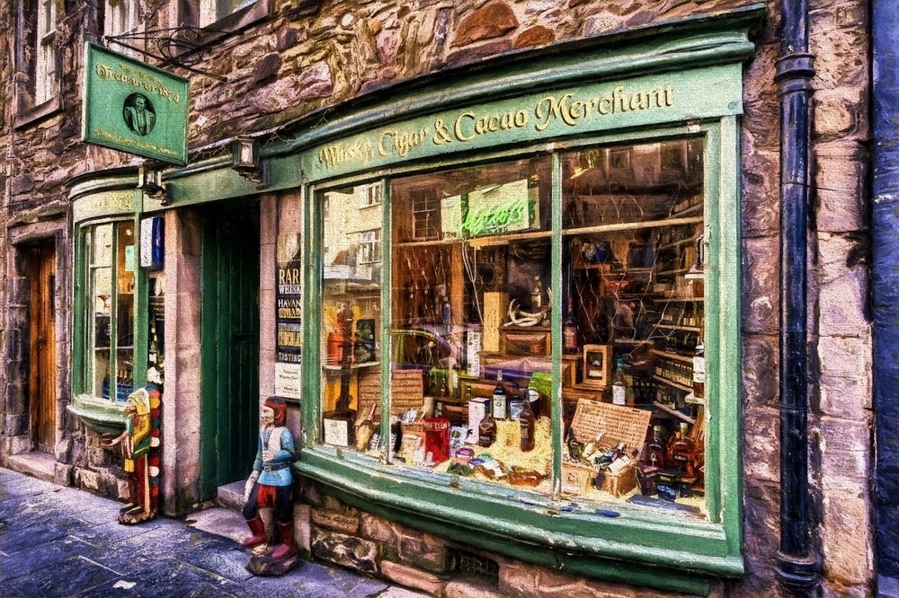 an interesting shop along the royal mile in edinburgh, scotland