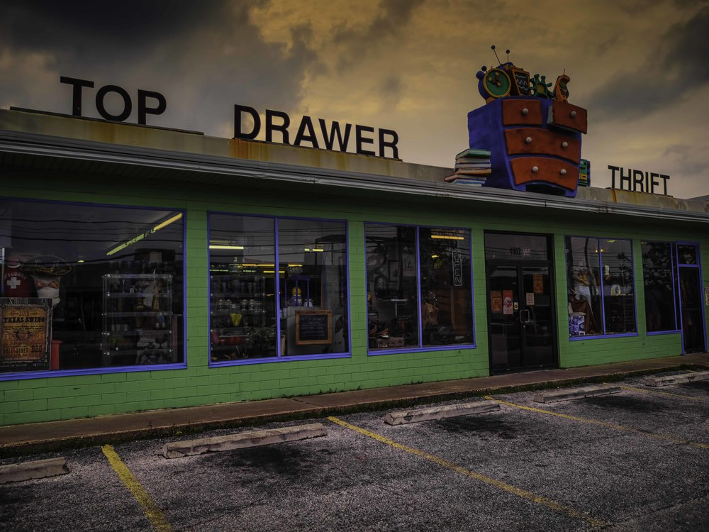 I've never been in Top Drawer Thrift, but it's a cool storefront right?  maybe I should go there and look for antique cameras.