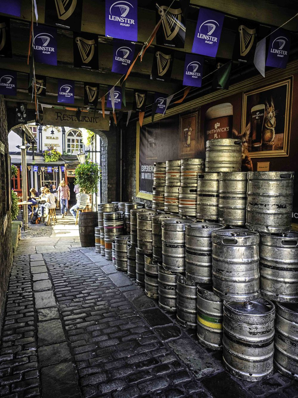 kegs lined up at the brazen head - yummy guinness!