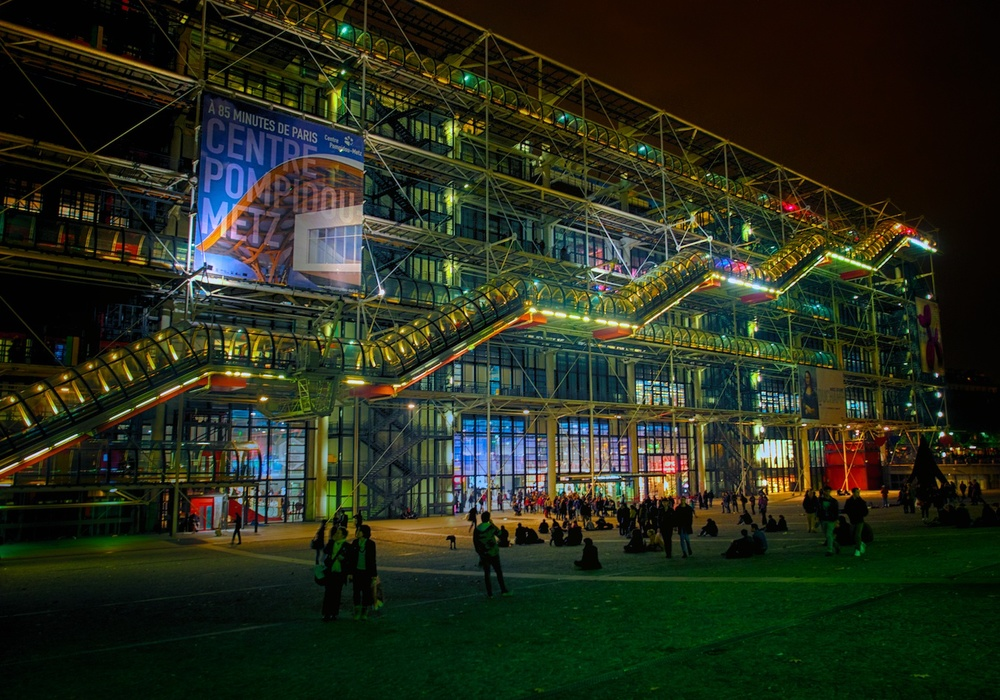 the interesting and unique centre Pompidou, with the electrical and plumbing systems on the outside.  very cool.