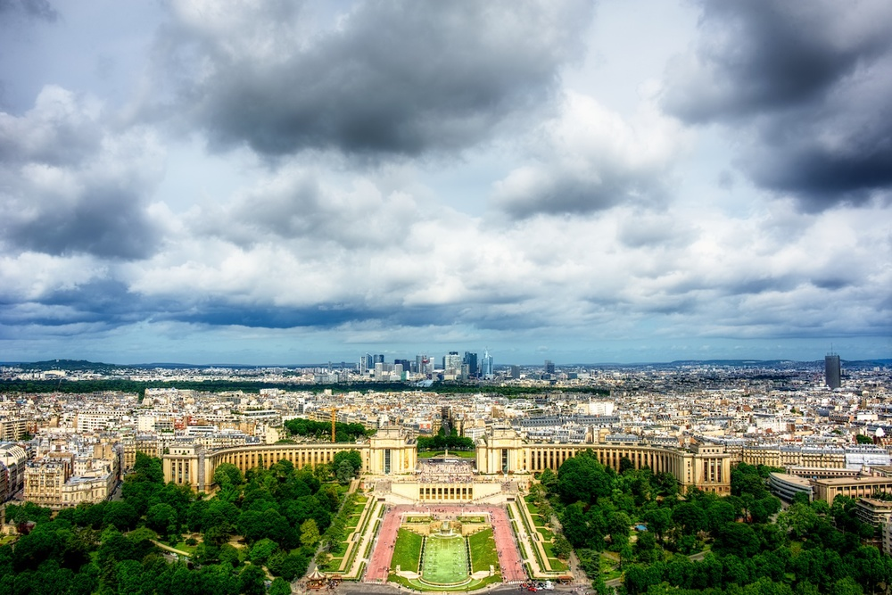 looking out over trocadero from the eiffel tower