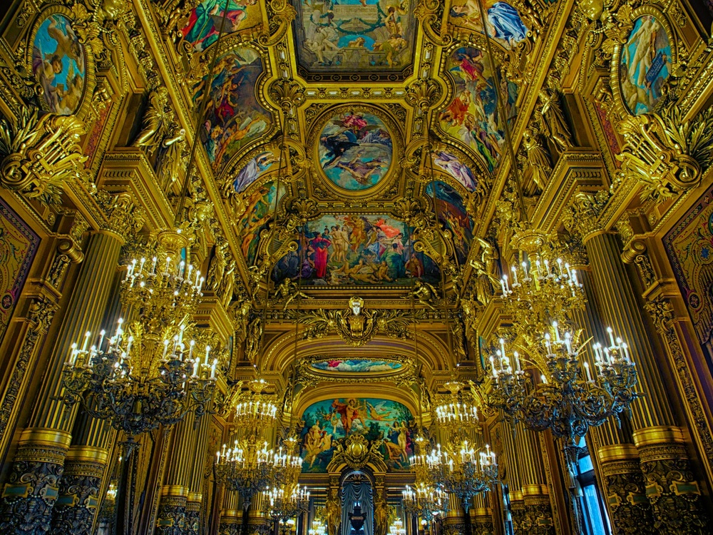 the ceiling inside the main hall of the opera garnier, which is so lavish and ornate that it looks fake.  But this is what it looks like.  Honest.