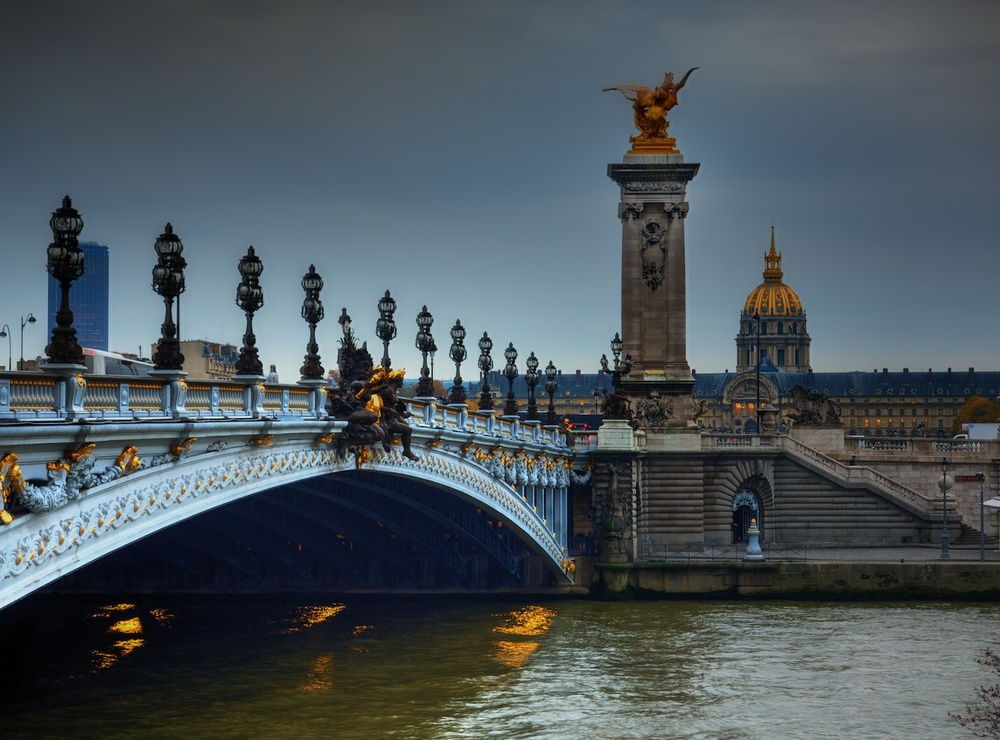 pont alexander iii, which stretches over the river seine and leads to les invalides, which is the dome you see in the background.