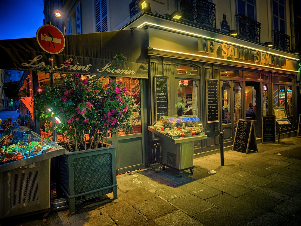 this is along rue st severin, taken one evening at dusk.