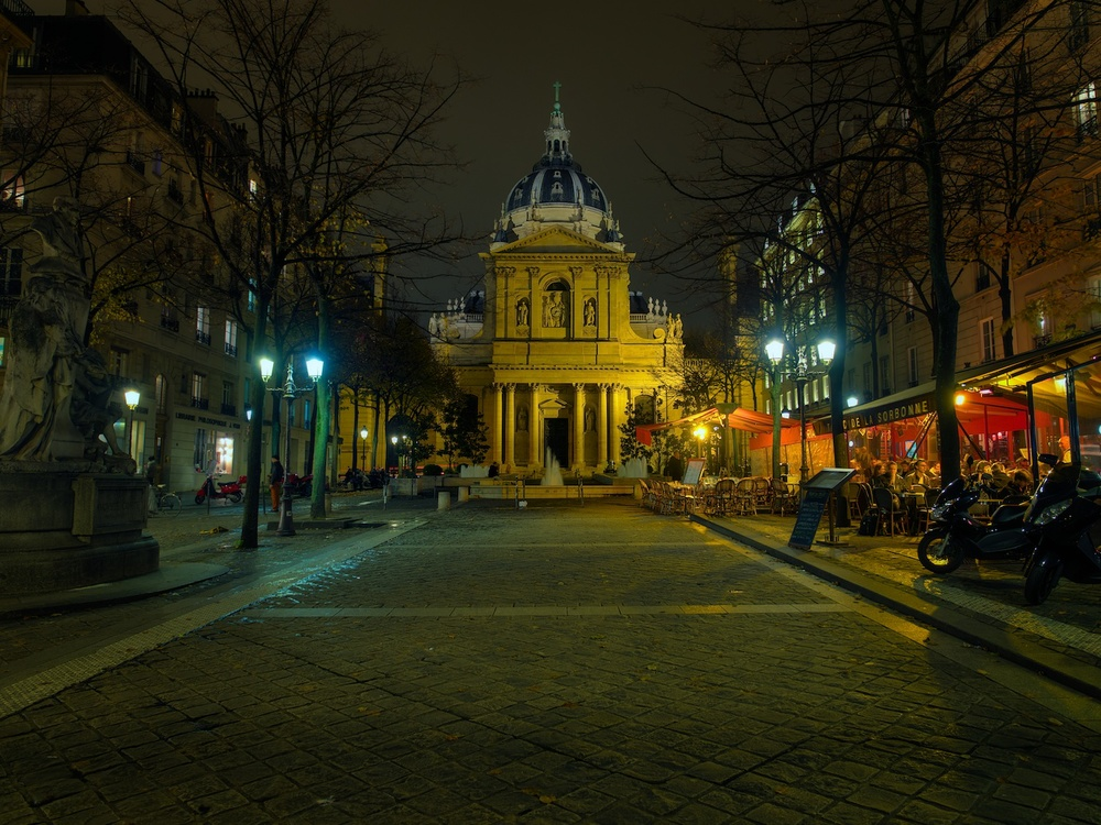 the sorbonne is a well-known university that sits in the latin quarter of paris. I stopped here for some shots while walking home one evening.