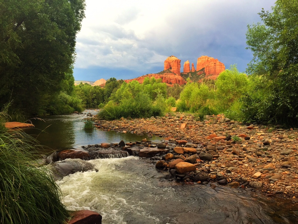staring at cathedral rock in sedona, az