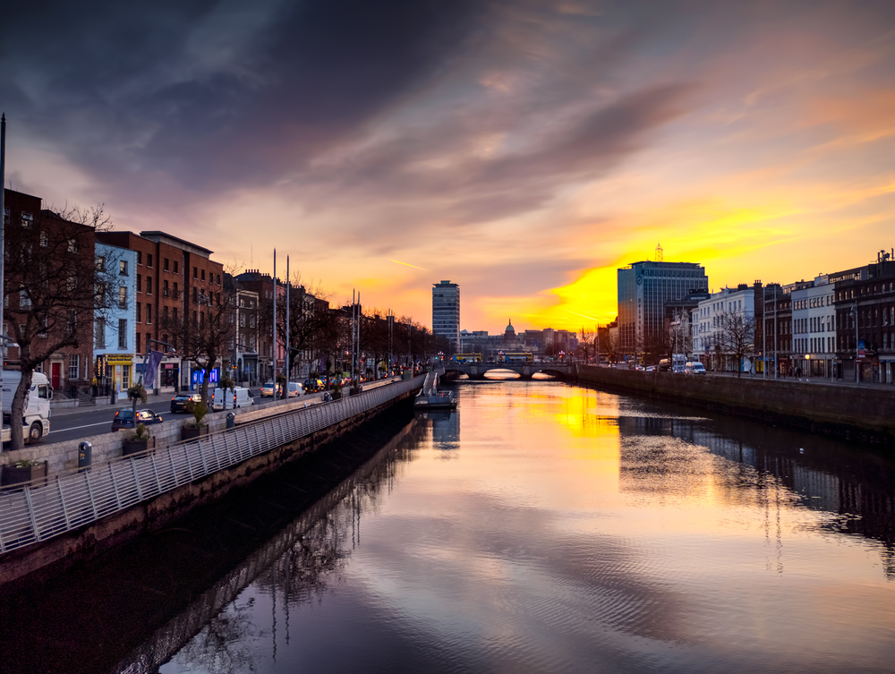 a view down the river liffey during sunrise