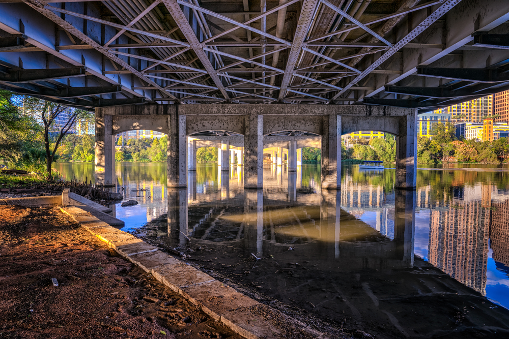 underneath the 1st street bridge downtown