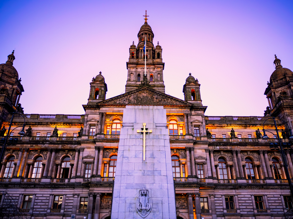 glasgow city chambers during a lovely sunset
