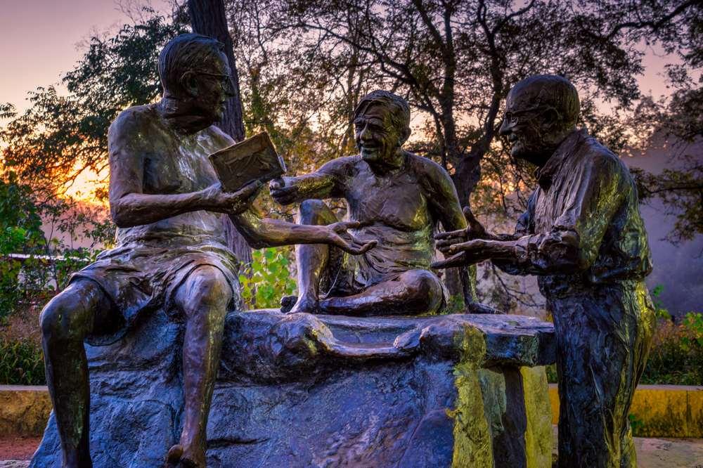 philosopher's rock outside of barton springs pool - a nice tribute to friendship and conversation.