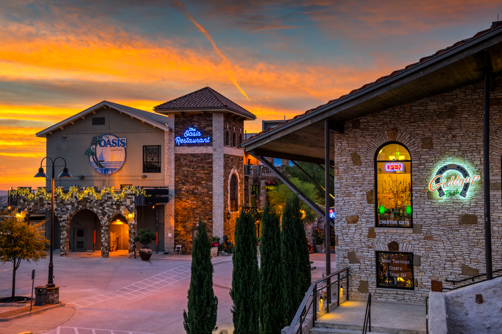 sunset behind the oasis restaurant on lake travis - austin, tx