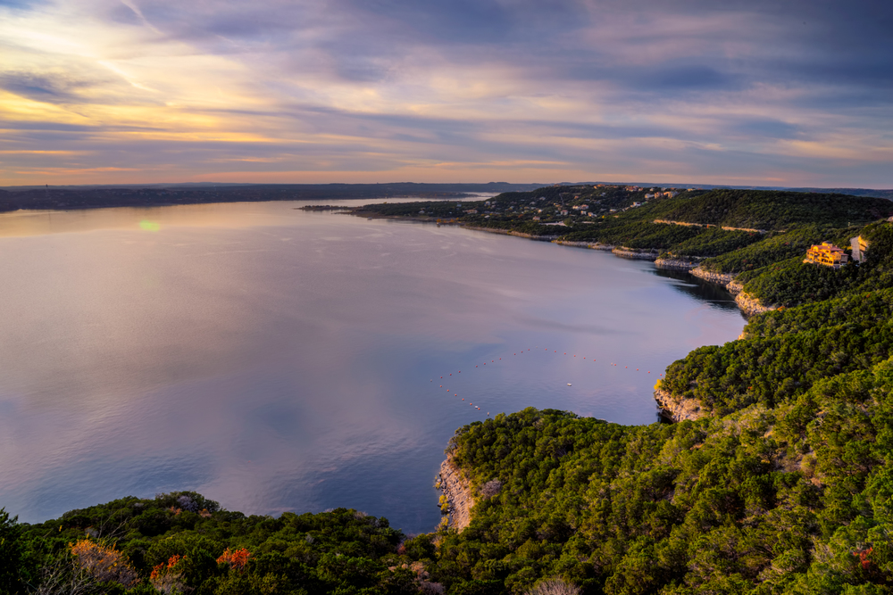 looking out over lake travis as sunset starts to get beautiful...