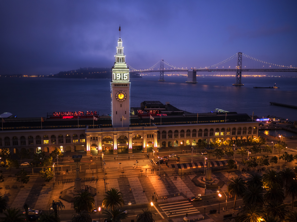 just after sunset one evening overlooking the ferry building