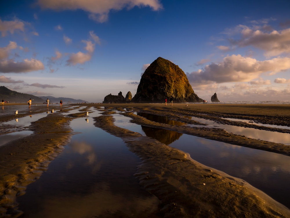 golden hour at haystack rock